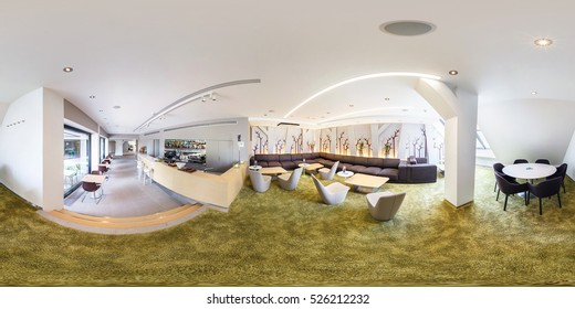 PRAHA, Czech Republic - JULY 22, 2014: Full 360 panorama in equirectangular spherical projection in stylish cafe complex Central Park in minimalist style. Photorealistic VR content
