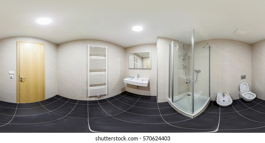 PRAHA , CZECH REPUBLIC - JULY 26, 2013: Inside of the interior of white bathroom in minimalistic style. Full 360 degree panorama in equirectangular spherical equidistant projection