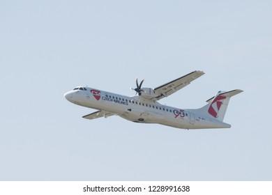 PRAHA, CZECH REPUBLIC - September  19,2018: ATR-42-500, LETIŠTĚ VÁCLAVA HAVLA