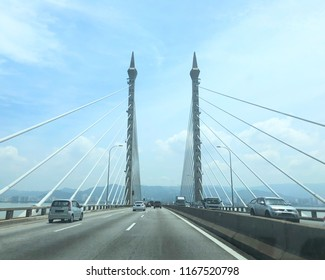Prai, Penang, Malaysia,10 August 2018 - Traffic on Penang Bridge towards Penang Island. Penang Bridge is the second-longest bridge in Malaysia.