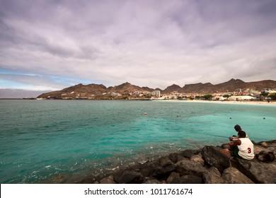 Praia da Laginha in Mindelo on the Sao Vicente islandin Cape Verde - Republic of Cabo Verde