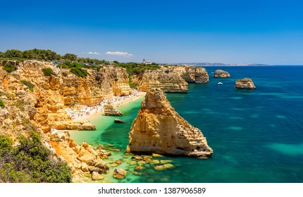Praia da Marinha, beautiful beach Marinha in Algarve, Portugal. Navy Beach (Praia da Marinha), one of the most famous beaches of Portugal, located on the Atlantic coast in Lagoa Municipality, Algarve.