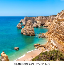 Praia da Marinha. Beautiful beach Marinha, Algarve, Portugal. square