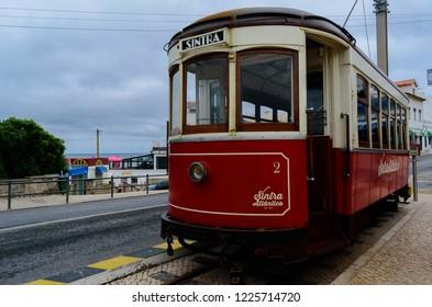 Praia das Maçãs, Portugal - 3 November 2018 - Old electric (1904) that connects Sintra to Praia das Maçãs