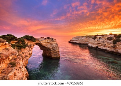 Praia de Albandeira - beautiful coast of Algarve at sunset, Portugal.