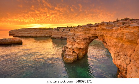 Praia de Albandeira - beautiful coast of Algarve at sunset, Portugal, Portugal
