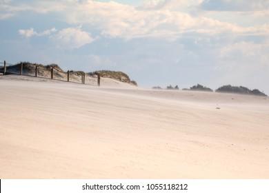 Praia de Espinho, beach near Oporto in Portugal, sand dunes.