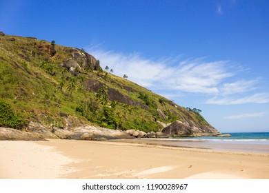 Praia do Bonete in Ilhabela, São Paulo, Brazil. August, 2018. Bonete beach on a sunny day.