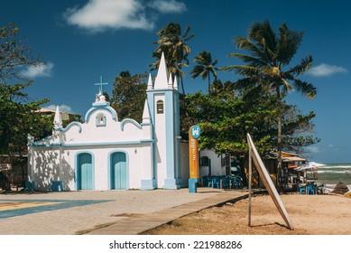 PRAIA DO FORTE, BAHIA, BRAZIL - SEPTEMBER 17: Church of St.Francisco by the sea at Praia do Forte, Bahia, Brazil on September 17, 2014.