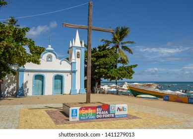 Praia do Forte, Brazil - 30 January 2019: Colonial church of mainly square in the Praia do Forte beach on Brazil