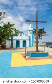Praia do Forte, Brazil - Circa September 2019: A view of Igreja de Sao Francisco de Assis, colonial style church at Praia do Forte