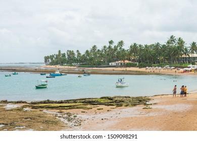 Praia do Forte, Brazil - Circa September 2019: A view of Praia do Forte - popular beach near Salvador, Bahia