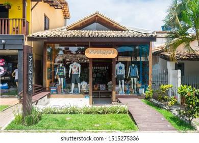 Praia do Forte, Brazil - Circa September 2019: Brasileirissima clothes store at Praia do Forte, popular beach resort near Salvador, Bahia
