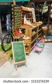 Praia do Forte, Brazil - Circa September 2019: Souvenir shop at Praia do Forte, popular beach resort near Salvador, Bahia