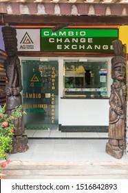 Praia do Forte, Brazil - Circa September 2019: Currency exchange store at Praia do Forte, popular beach resort near Salvador, Bahia
