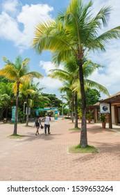 Praia do Forte, Brazil - Circa September 2019: A view of Praia do Forte village, popular beach resort near Salvador, Bahia