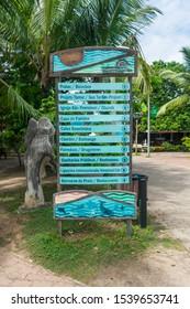 Praia do Forte, Brazil - Circa September 2019: Tourist information board at Praia do Forte, popular beach resort near Salvador, Bahia