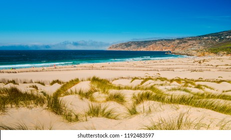 Praia do Guincho is a popular Atlantic beach located on Portugal's Estoril coast, 5km from the town of Cascais, Portugal
