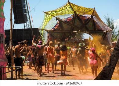 Praia dos Garcez, Bahia, Brazil - January 2, 2015: Crowd dancing at electronic music festival Terra Em Transe 2014-2015 at Praia dos Garcez, Bahia, Brazil.
