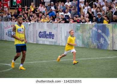 Praia Grande, BrazilJuly, 21 2018NEYMAR JR and his son DAVI LUCCA,  during the finals of the Neymar Jrs Five tournament at Neymar Jr. Institute.