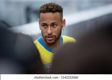 Praia Grande, BrazilJuly, 21 2018Brazilian soccer player NEYMAR JR during the finals of the Neymar Jrs Five tournament at Neymar Jr. Institute.
