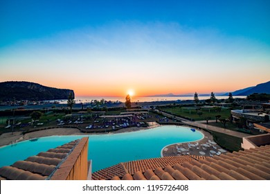 PRAIA A MARE, ITALY - AUGUST 8, 2017: Pictures of the sunset at the Praia a Mare beach at south of Italy.