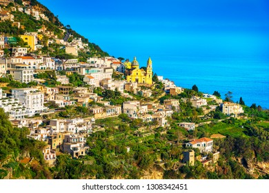 Praiano town in Amalfi coast, panoramic view. Italy, Europe