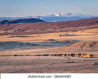 praire, foothills and Rocky Mountains in northern Colorado - fall scenery at sunrise in Soapstone Prairie Natural Area near Fort Collins