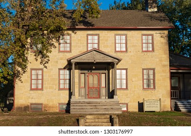 PRAIRIE DU CHIEN, WI/USA –OCTOBER 20, 2018: Landmark Brisbois House is one of the oldest standing stone houses in Wisconsin and is listed on the National Register of Historic Places.