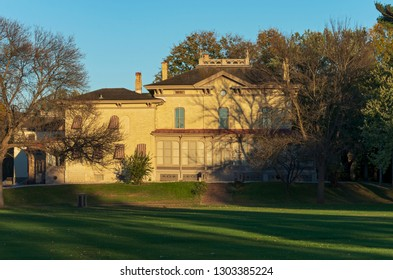 PRAIRIE DU CHIEN, WI/USA –OCTOBER 20, 2018: The Villa Louis is a National Historic Landmark located on St. Feriole Island, Prairie du Chien. It was once the estate of the prominent Dousman family.