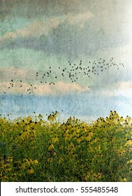 Prairie flowers and a flock of birds with a big open background for text done in a grunge style
