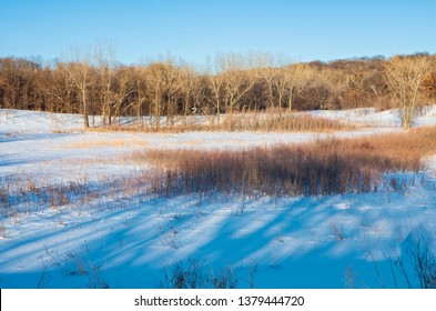 prairie and forest winter landscape of battle creek regional park in saint paul minnesota