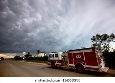 Prairie Storm Clouds Saskatchewan Canada SFire Truck