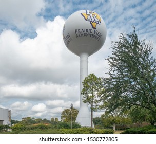 Prairie View, Texas, USA - October 14, 2019: Water tower reservoir in Prairie View A&M University