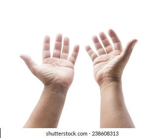Praise and worship concept: Old man open two empty hands with palms up and reaching up to God isolated on white background.
