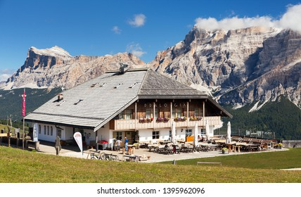 PRALONGIA, ITALY - SEPTEMBER 22 2016 - The Pralongia lodge in summer time.  Alps Dolomites mountains near Sella gruppe