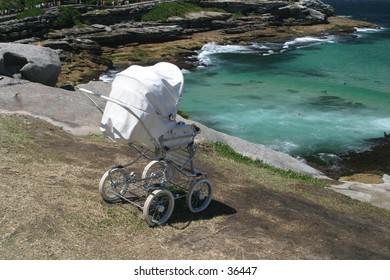 Pram heading to the ocean
