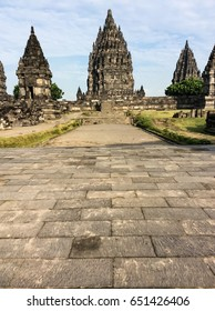 Prambanan temple east terrace block view with blue sky background