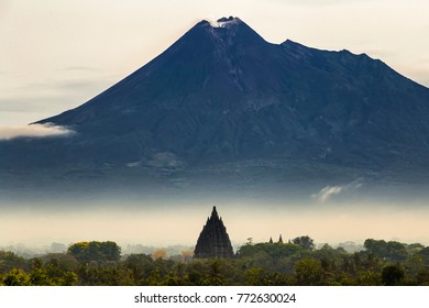 prambanan temple and mount merapi aerial view