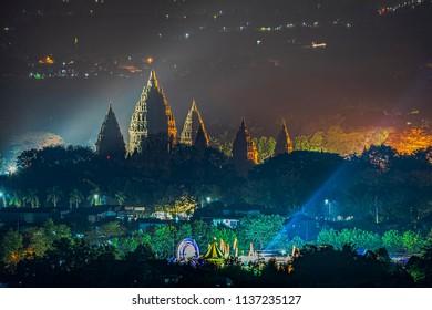 Prambanan temple in night view; July 2018