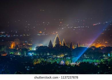 Prambanan temple in night view, July 2018