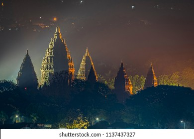 Prambanan Temple Night View; Location Yogyakarta, Indonesia; 18 July 2018
