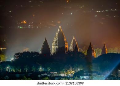 Prambanan temple night view, Yogyakarta, Indonesia; long exposure July 2018