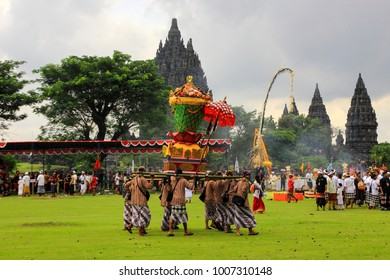 Prambanan Temple, Yogyakarta, Indonesia - March 20th 2015 : Hindu people carry out the tawur agung tradition in Prambanan temple to welcome Nyepi day.