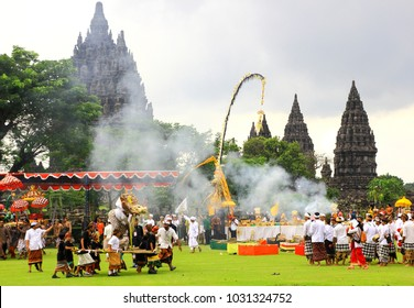 Prambanan Temple, Yogyakarta - March 20th 2015 : Hindu people carry out the tawur agung tradition in Prambanan temple to welcome Nyepi day