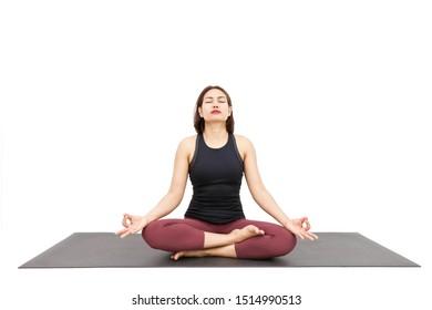Pranayama or Kundalini Yoga, Asian women are training Yoga pose for Breathing Exercises, Healthy Concept Isolated on White Background.