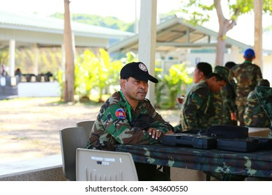 PRANBURI, THAILAND - November 23, 2015 - Army shooting  contingent both women and men soldiers attended AARM 2015 in southern of Thailand, as for Asean shooting competition.