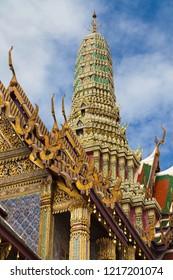 Prang of the Royal Pantheon at Wat Phra Kaew, Bangkok, Thailand.