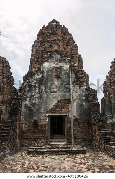 Prang Sam Yod and Phra Prang Khaek a  Historic  construction site of the Khmer Bayon ... in the Landmark. Lopburi, Thailand