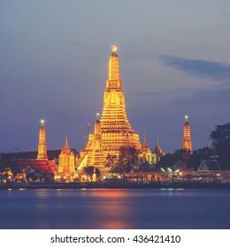 Prang of Wat Arun, Bangkok ,Thailand (Vintage filter effect used)